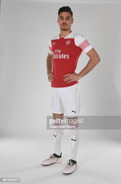 Konstantinos Mavropanos of Arsenal in the new home kit for season 201819 on March 16 2018 in St Albans England