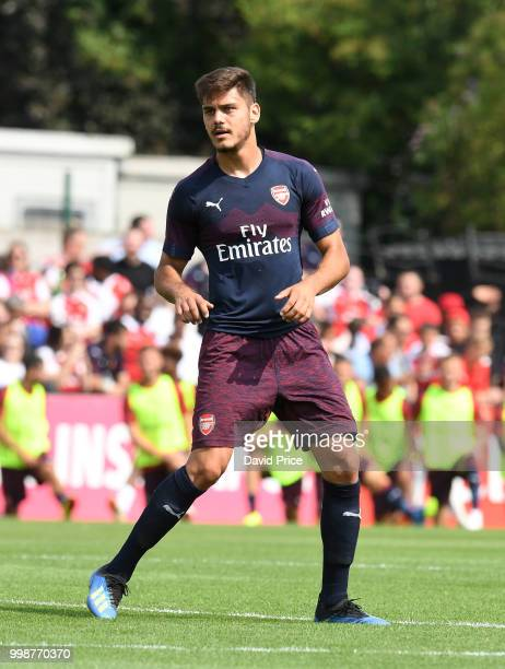 Konstantinos Mavropanos of Arsenal looks on during the match between Borehamwood and Arsenal at Meadow Park on July 14 2018 in Borehamwood England