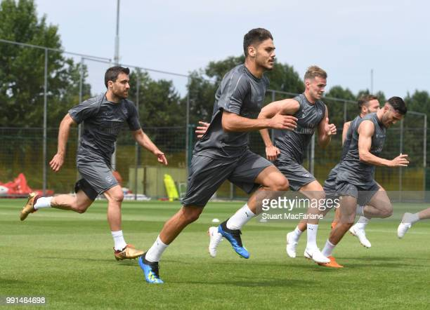 Konstantinos Mavropanos of Arsenal runs during a training session at London Colney on July 4 2018 in St Albans England