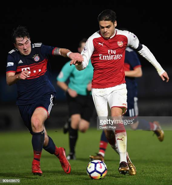 Konstantinos Mavropanos of Arsenal take on Adrian Fein of Bayern during the Premier League International Cup Match between Arsenal and Bayern Munich...
