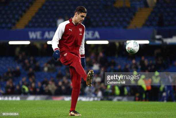 Konstantinos Mavropanos of Arsenal warms up prior to the Carabao Cup SemiFinal First Leg match between Chelsea and Arsenal at Stamford Bridge on...