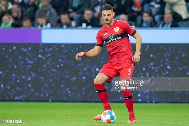 Konstantinos Mavropanos of VfB Stuttgart controls the ball during the Bundesliga match between Borussia Mönchengladbach and VfB Stuttgart at...