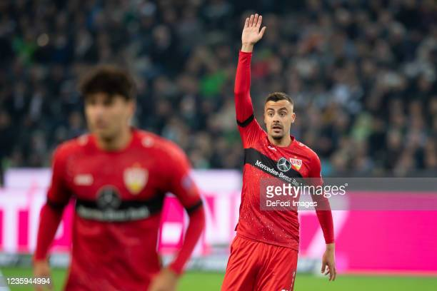 Konstantinos Mavropanos of VfB Stuttgart gestures during the Bundesliga match between Borussia Mönchengladbach and VfB Stuttgart at Borussia-Park on...