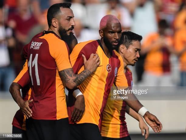 Konstantinos Mitroglou of Galatasaray SK, Ryan Babel of Galatasaray SK, Yuto Nagatomo of Galatasaray SK during the Pre-season Friendly match between...