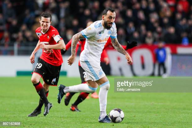 Konstantinos Mitroglou of Marseille and Romain Danze of Rennes during the french League Cup match Round of 16 between Rennes and Marseille on...