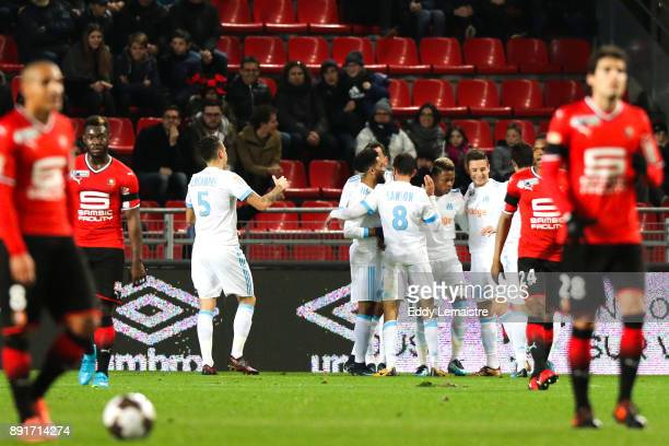 Konstantinos Mitroglou of Marseille celebrates with teammate after scoring a goal during the french League Cup match Round of 16 between Rennes and...