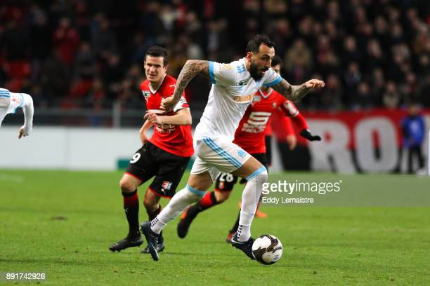 Konstantinos Mitroglou of Marseille during the french League Cup match Round of 16 between Rennes and Marseille on December 13 2017 in Rennes France