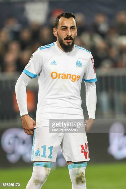 Konstantinos Mitroglou of Marseille during the Ligue 1 match between FC Girondins de Bordeaux and Olympique Marseille at Stade Matmut Atlantique on...