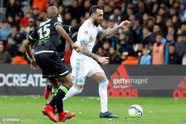 Konstantinos Mitroglou of Marseille during the Ligue 1 match between Olympique Marseille and EA Guingamp at Stade Velodrome on November 26 2017 in...