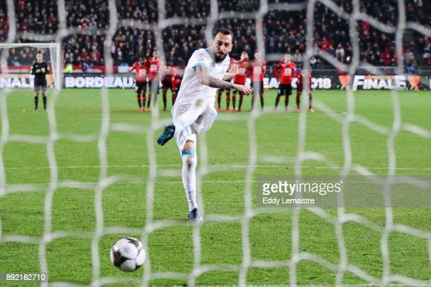 Konstantinos Mitroglou of Marseille during the penalties session during the french League Cup match Round of 16 between Rennes and Marseille on...