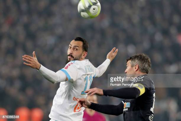 Konstantinos Mitroglou of Marseille in action during the Ligue 1 match between FC Girondins de Bordeaux and Olympique Marseille at Stade Matmut...