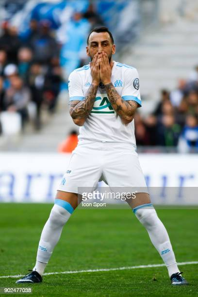 Konstantinos Mitroglou of Marseille looks dejected during the french National Cup match between Marseille and Valenciennes on January 7 2018 in...