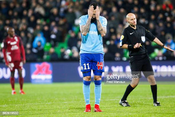 Konstantinos Mitroglou of Marseille looks dejected during the Ligue 1 match between Metz and Olympique Marseille at Stade Saint Symphorien on...