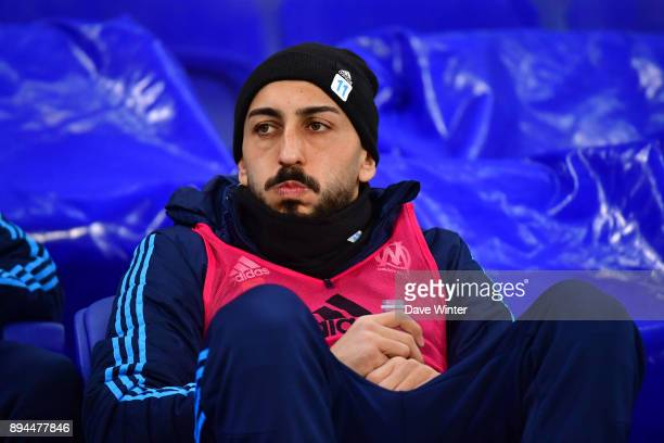 Konstantinos Mitroglou of Marseille on the bench during the Ligue 1 match between Olympique Lyonnais and Olympique Marseille at Parc Olympique on...