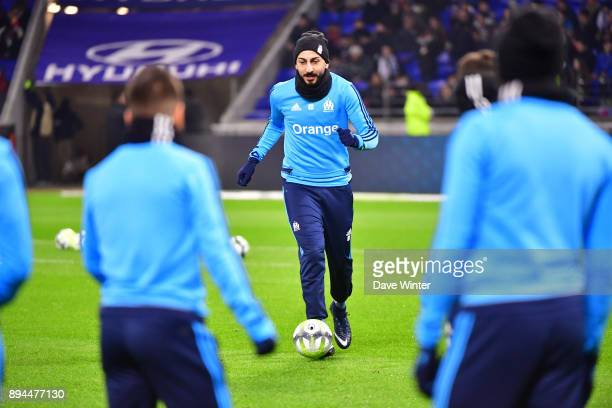 Konstantinos Mitroglou of Marseille warms up before the Ligue 1 match between Olympique Lyonnais and Olympique Marseille at Parc Olympique on...