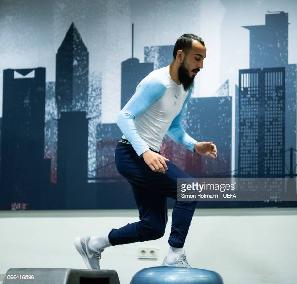 Konstantinos Mitroglou of Marseille warms up prior to the UEFA Europa League Group H match between Eintracht Frankfurt and Olympique de Marseille at...