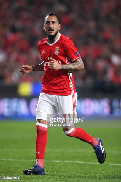 Konstantinos Mitroglou of SL Benfica in action during the UEFA Champions League Round of 16 first leg match between SL Benfica and Borussia Dortmund...