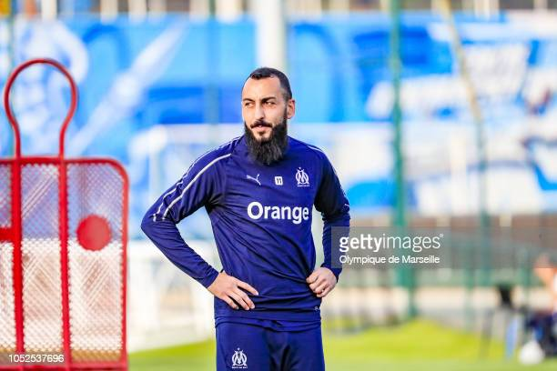 Konstantinos Mitroglou reacts during an Olympique de Marseille training session at RobertLouisDreyfus training center on October 19 2018 in Marseille...