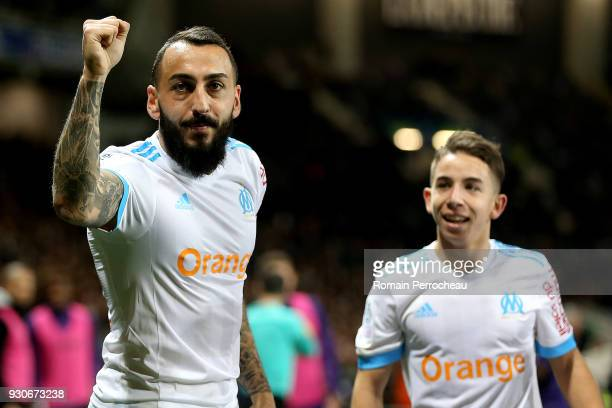 Konstantinos Mitrouglou reacts after his goal during the Ligue 1 match between Toulouse and Olympique Marseille at Stadium Municipal on March 11 2018...