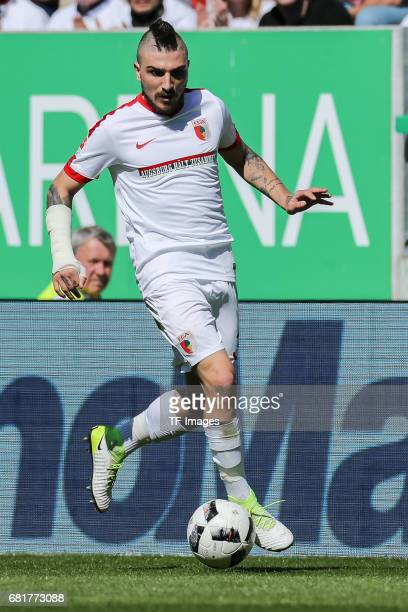 Konstantinos Stafylidis of Augsburg controls the ball during the Bundesliga match between FC Augsburg and Hamburger SV at WWK Arena on April 30 2017...