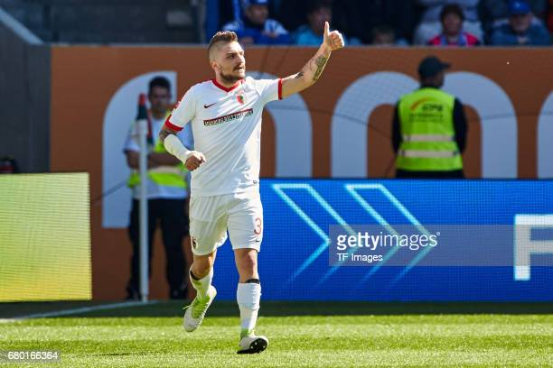 Konstantinos Stafylidis of Augsburg gestures during the Bundesliga match between FC Augsburg and Hamburger SV at WWK Arena on April 30 2017 in...