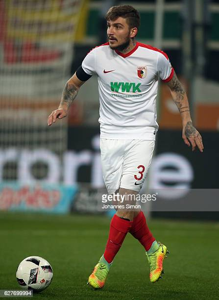 Konstantinos Stafylidis of Augsburg in action during the Bundesliga match between FC Augsburg and Eintracht Frankfurt at WWK Arena on December 4 2016...