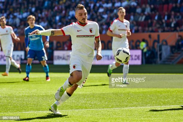 Konstantinos Stafylidis of Augsburg in action during the Bundesliga match between FC Augsburg and Hamburger SV at WWK Arena on April 30 2017 in...