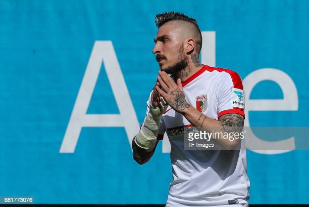 Konstantinos Stafylidis of Augsburg looks on during the Bundesliga match between FC Augsburg and Hamburger SV at WWK Arena on April 30 2017 in...