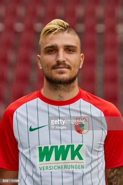 Konstantinos Stafylidis of FC Augsburg poses during the team presentation at WWK Arena on July 17 2017 in Augsburg Germany