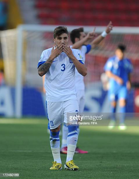 Konstantinos Stafylidis of Greece celebrates after he scores a goal from the penalty spot during the FIFA U20 World Cup Round of 16 match between...