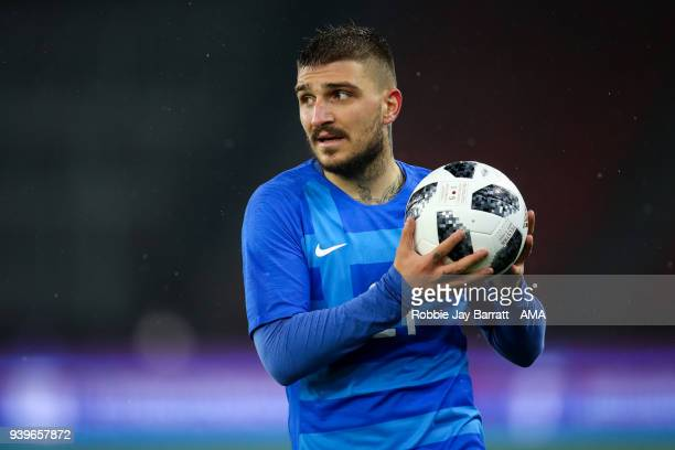 Konstantinos Stafylidis of Greece during the International Friendly match between Egypt and Greece at Stadion Letzigrund at Letzigrund on March 27...