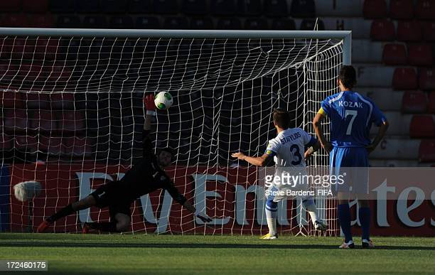 Konstantinos Stafylidis of Greece scores a goal from the penalty spot during the FIFA U20 World Cup Round of 16 match between Greece and Uzbekistan...