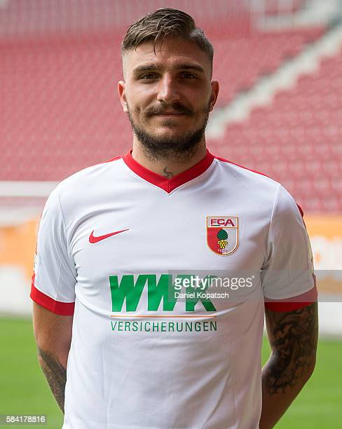 Konstantinos Stafylidis poses during the Team Presentation of FC Augsburg on July 28 2016 in Augsburg Germany