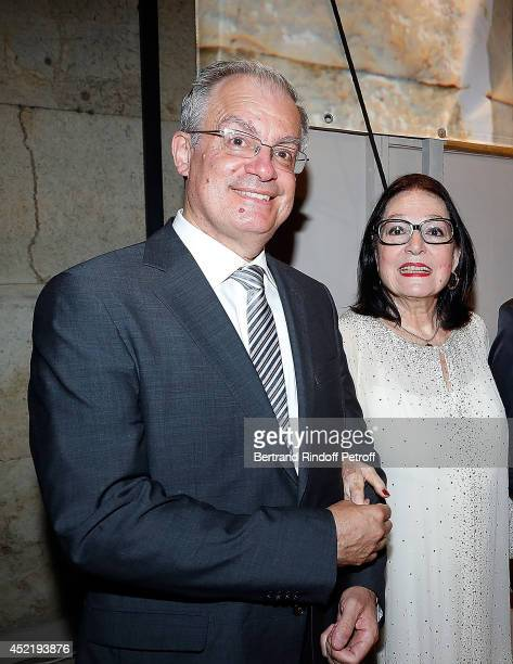 Konstantinos Tassoulas Greek Minister of Culture pose with Nana Mouskouri after the 'Nana Mouskouri Birthday Tour' In Herod Atticus Odeon Theatre on...
