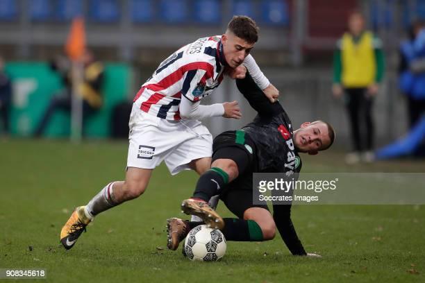 Konstantinos Tsimikas of Willem II Jesper Drost of FC Groningen during the Dutch Eredivisie match between Willem II v FC Groningen at the Koning...