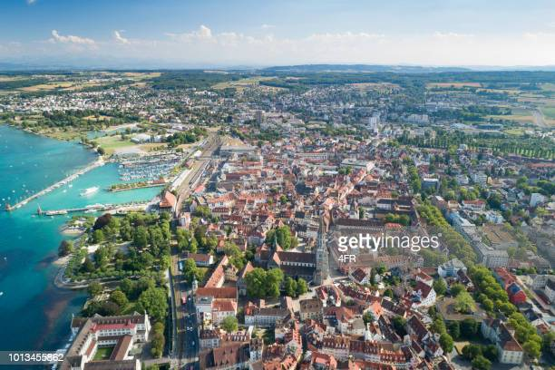 konstanz panorama, lake constance, bodensee, germany - bodensee stock pictures, royalty-free photos & images