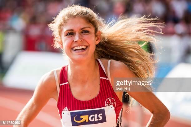 Konstanze Klosterhalfen celebrates after winning at women's 1500 Final during day 2 of the German Championships in Athletics at Steigerwaldstadion on...