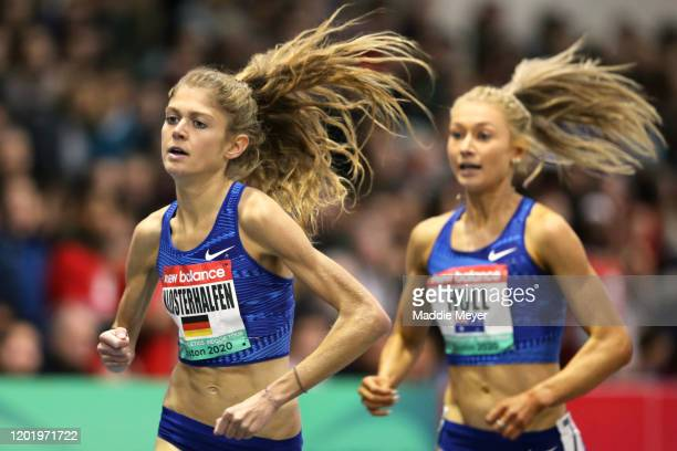 Konstanze Klosterhalfen of Germany and Jessica Hull of Australia compete in the Women's 1500m during the New Balance Indoor Grand Prix at Reggie...