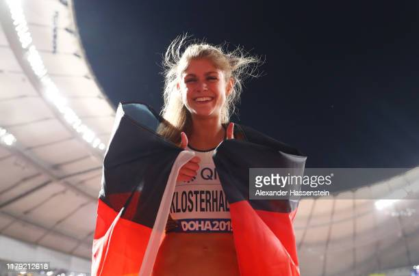 Konstanze Klosterhalfen of Germany celebrates bronze in the Women's 5000 Metres final during day nine of 17th IAAF World Athletics Championships Doha...