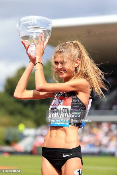 Konstanze Klosterhalfen of Germany collects her medal after winning in the Womens 1 Mile during the Muller Birmingham Grand Prix IAAF Diamond League...