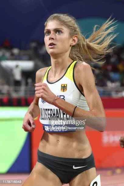 Konstanze Klosterhalfen of Germany competes in the Women's 5000 metres heats during day six of 17th IAAF World Athletics Championships Doha 2019 at...