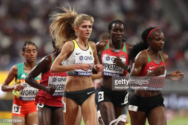 Konstanze Klosterhalfen of Germany competes in the Women's 5000 Metres final during day nine of 17th IAAF World Athletics Championships Doha 2019 at...