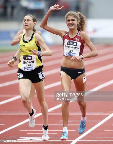 Konstanze Klosterhalfen of TSV Bayer 04 Leverkusen celebrates winning the women's 1500 meter final during day 3 of the German Athletics Championships...