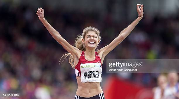 Konstanze Klosterhalfen of TSV Bayer 04 Leverkusen celebrates winning the women's 400m final during day 2 of the German Championships in Athletics at...