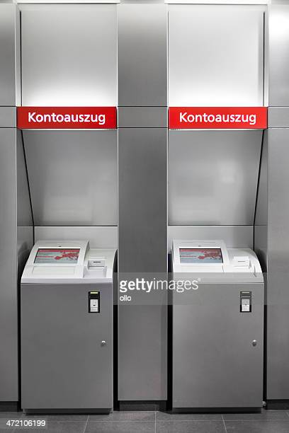 kontoauszugsdrucker / bank statement printer - money printer stock pictures, royalty-free photos & images