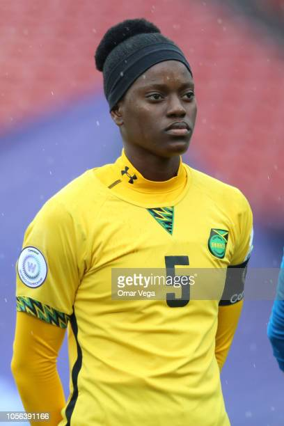 Konya Plummer#5 of Jamaica stands during the National Anthem before the match between Panama and Jamaica as part of CONCACAF Women's Championship at...