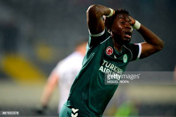 Konyaspor's French defender Wilfried Moke reacts after missing a goal opportunity during the UEFA Europa League group I football match between...