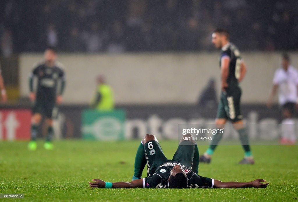 Konyaspor's Gabonese forward Malik Evouna reacts at the end of the UEFA Europa League group I football match between Vitoria and Konyaspor in Guimaraes on December 7, 2017. /