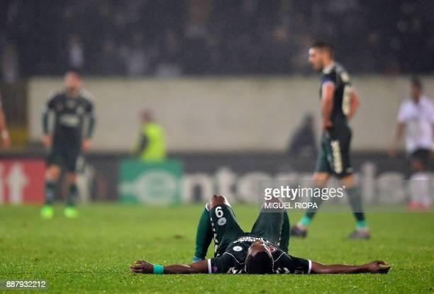 Konyaspor's Gabonese forward Malik Evouna reacts at the end of the UEFA Europa League group I football match between Vitoria and Konyaspor in...