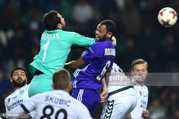Konyaspor's goal keeper Serkan Kirintili vies for the ball with Olympique de Marseille's Rolando during the UEFA Europa League Group I football match...